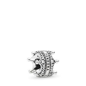 Pandora Crown silver spacer with clear zirconia